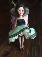 """VINTAGE 6"""" Souvenir Doll Made In France Dancing Can Can Girl Blinking Eyes"""