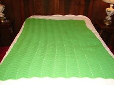 Handmade Handcrafted Green Crochet Afghan Throw Blanket