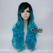"""Ombre Lolita 30"""" Black Mixed Blue Long Curly Cosplay Heat Resistant Wig+Cap"""