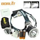 BORUiT B10 Rechargeable XM-L2 LED Headlamp HeadLight Flashlight +2X18650+Charger