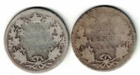 2 x CANADA 1886 TWENTY FIVE CENTS QUARTERS QUEEN VICTORIA STERLING SILVER COINS