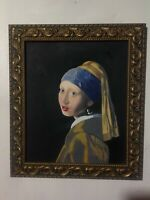 ORIGINAL ART BASED ON 'GIRL WITH A PEARL EARING' BY VERMEER SGND FRAMED OIL