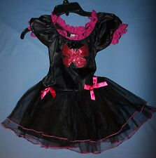 Girls Sz S Midnight Butterfly Costume Over 8 Yrs Black Pink Sequin Halloween