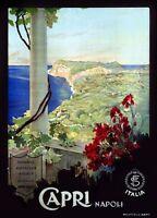 "Vintage Illustrated Travel Poster CANVAS PRINT Fly Capri Napoli 8""X 12"""