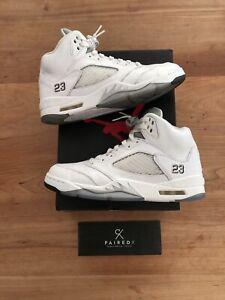 GORGEOUS Jordan 5 White Metallic Size 10 8.5 /10 Condition With Box