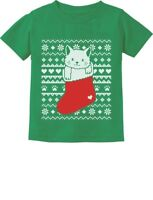 Cat in Stocking Kitty Ugly Christmas Sweater Toddler/Infant Kids T-Shirt Gift