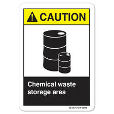 ANSI Caution Sign - Chemical Waste Storage Area |  Made in the USA