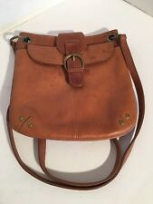 """FOSSIL Brown Leather 8.25"""" x 8.25"""" Flap Over Snap Cross-body Shoulder Bag Purse"""
