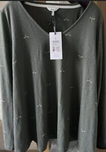 Joules Harbour Bee Jersey Swing Top T-Shirt Khaki Green Size UK 18 BNWT
