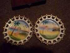vintage Florida girls in bathing suits ceramic plate gold embelished 6 inch
