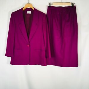 Pendleton Womens suit Skirt Jacket Blazer Purple 100% Virgin Wool Career 14 P