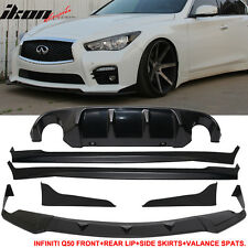 For 14-17 Infiniti Q50 Q50S Front Lip + Side Skirts + Rear Apron + Rear Diffuser