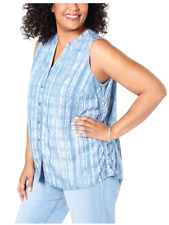 Style&co Top Blue Tapestery Stripe Size 1X Plus Button Down V-Neck $56 NEW PL80
