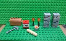 LEGO Minecraft Assesories Lot of 13 Items Pickaxe, TNT, Torches, Lava Bucket,