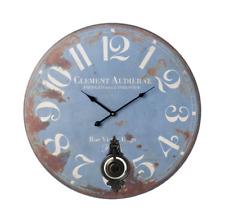 New Large Clement Audierne Blue Round Wall Clock Pendulum Vintage 58cm Diameter