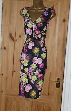 Black pink floral stretchy galaxy pencil wiggle evening party dress size 12