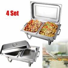 4 Packs Chafing Dish  Buffet Set Stainless Steel Rectangular Chafer Full Size