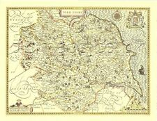 Yorkshire Full Size Printed Replica John Speed c.1610 Old Map  UNIQUE GIFT IDEA