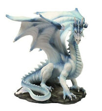 Rare White Dragon Upon Rock Statue Sculpture Figurine - WE SHIP WORLDWIDE