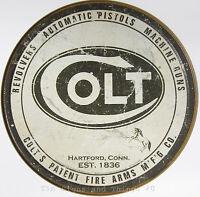 Colt round TIN SIGN metal gun ammo vintage rustic hunting cabin wall decor 1609