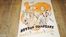 JOYEUX COMPERES ! d powell r reagan  dossier presse scenario cinema 1938