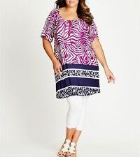 Plus Size Ladies Printed Tunic Purple/Magenta Size 24 -  95% VISCOSE,5% ELASTANE