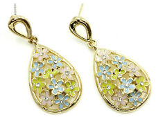 Green Spring Colors Vintage Style Plated Gold Daisy Earrings Flowers Pink Blue