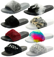Ladies Flats Slider Mules Sandals Faux Fur Comfy Casual Beaded UK Shoes Size 3-8