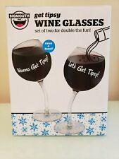 - NEW - BIG MOUTH - Let's Get Tipsy - WINE GLASSES - (2 Glasses)