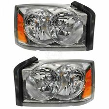 Headlights Headlamps Left & Right Pair Set for 05-07 Dodge Dakota Pickup Truck