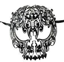Demon Skull Laser Cut Black Metal Masquerade Mask With Clear Rhinestones