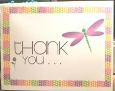 """Kitty'S Note Cards - Set of 10 + Envelopes- """"Thank You in Purple Dragonfly"""""""