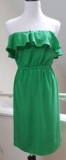 New DKNY Kelly Green Ruffled Strapless Silk Dress, Sz P