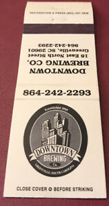 Matchbook Cover Downtown Brewing Co. Greenville South Carolina