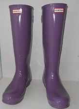 """HUNTER"" Womens Sz 9 ""TALL"" Gloss Back Adjustable Dusty Lavender Boots-$99.55"