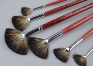 XDT#648 Fan Artist Paint Brush Set 6Pc For Watercolor Acrylic Extra Long Handle