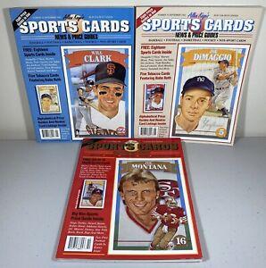 Allan Kaye's Sports Card Price Guides 1992 Lot of 3 Montana DiMaggio Clark