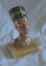 "Egyptian Brass Colored Nefertiti Statue On Alabaster 5.5"" (Sale)"