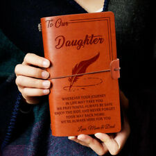 To Our Daughter Wherever Love Mom & Dad Engraved Leather Journal Notebook Diary