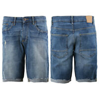 Men's Distressed Denim Light Faded Wash Stretch Ripped Casual Jean Shorts