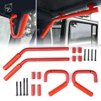Xprite 4Pcs Red Front & Rear Grab Handles Kit Steel for 07-18 Jeep Wrangler JK