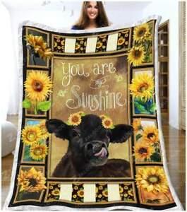 Cow Sunflower You Are My Sunshine Black Cow Lovers Farmer Soft Fleece Blanket
