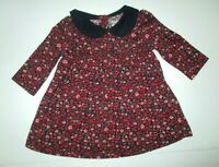 INFANT GIRLS BABY GAP RED PINK FLORAL & NAVY BLUE COLLAR DRESS SIZE 3-6 MONTHS