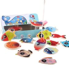 10X(Children'S Wooden Stick Toy Fish Magnetic Toys Fishing Game Tin Box Chi 7G1)
