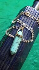 "Gemstone Rock TURQUOISE POINT Healing Point Chakra Stone Pendant 18"" Necklace"
