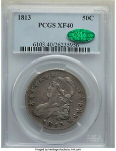 1813 Capped Bust Half Dollar PCGS XF-40 CAC - Original Coin Strong Clash - szx