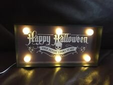 NWT Festive Happy Halloween Marquee Home Decoration Table Light Black White