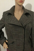 Ines Womens Cropped Biker Style Tweed Look Jacket Uk Size 16 Brown Mix Brand New