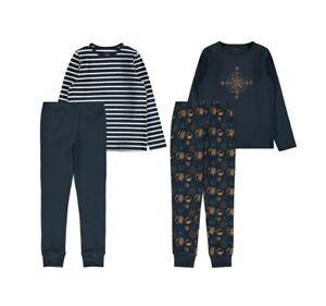 NAME IT 2er Pack Pyjama Schlafanzug blau Earth geringelt Größe 86/92 bis 158/164
