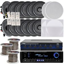 "NEW Pyle 6-room In-Ceiling 5.25"" Speaker System w/Receiver Volume Controls  Wire"
